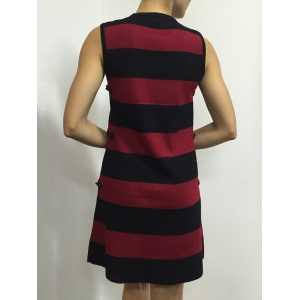Button A Line Striped Sleeveless Jumper Dress -