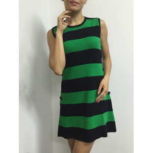 Bouton Color Block Stripe manches Side Robe - Vert TAILLE MOYENNE