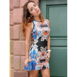Ethnic Style Printed Round Neck Sleeveless Dress -