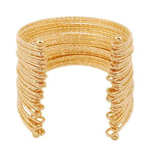 Shiny Multilayer Iron Wire Cuff Bracelet - GOLDEN