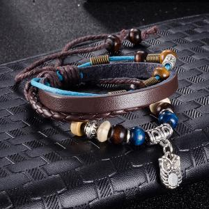 Faux Leather Woven Rope Engraved Owl Beaded Bracelet -