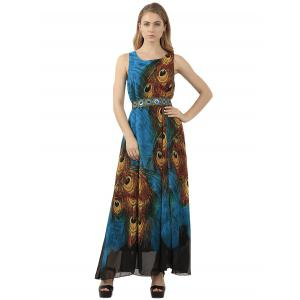 Bohemian Tie-Dye Peacock Leather Print Maxi Dress - PEACOCK BLUE XL
