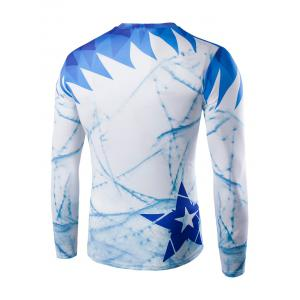 Round Neck Long Sleeve Printed T-Shirt - BLUE 2XL