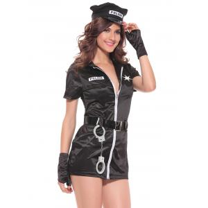 Chic Zipper Design Women's Police Cosplay Costume -