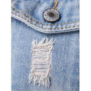 Flag Print Frayed Design Denim Jacket -