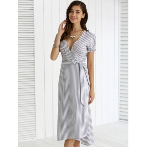 Plunging Neck Ruffled Striped Faux Wrap Dress - STRIPE 2XL