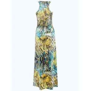 Bohemian Sleeveless 3D Print Colorful Maxi Dress -