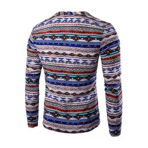 Ethnic Style Striped Long Sleeve Tee - BLUE 2XL