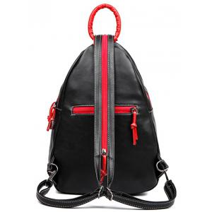 Knots PU Leather Leaf Pattern Backpack -