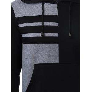 Patch Pocket Front Color Splicing Long Sleeve Drawstring Hoodie - BLACK XL