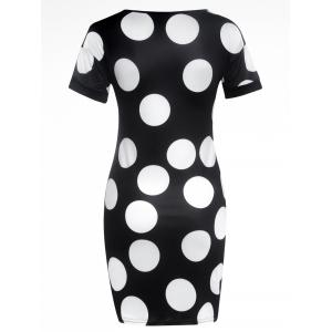 Short Sleeve Polka Dot Print Slimming Dress - BLACK XL