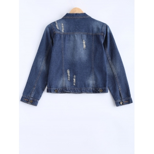 Bleach Wash Frayed Jean Jacket -