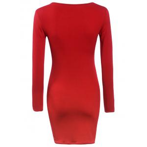 Long Sleeve Tight Front Cutout Zipper Bodycon Dress -