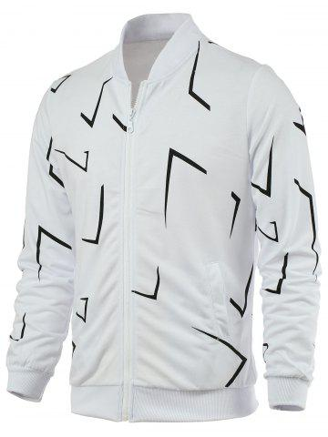 Sale Rib Splicing Print Zip Up Jacket WHITE 4XL