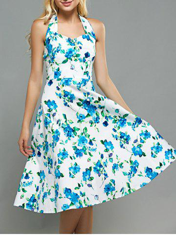 Floral Print A Line Halter Neck Dress