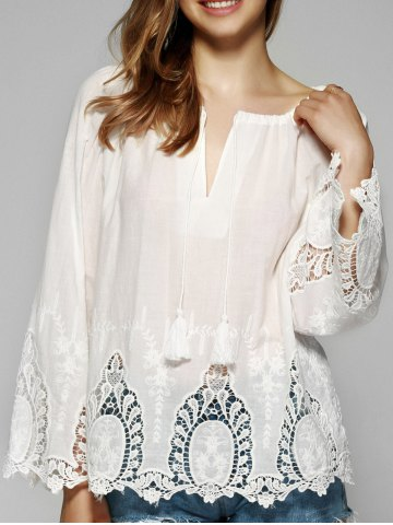 Discount Sweet Flare Sleeve Lace Patchwork Blouse