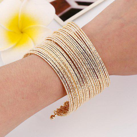 Cheap Shiny Multilayer Iron Wire Cuff Bracelet GOLDEN