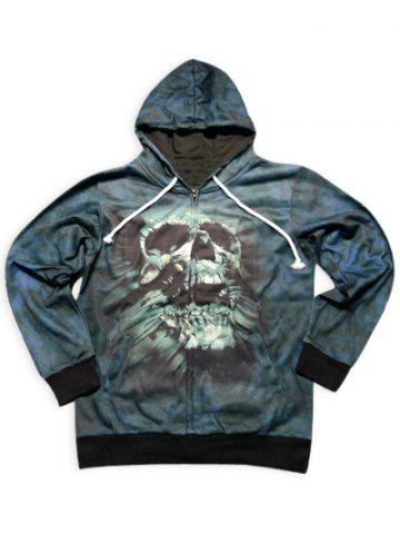 Discount Trendy Slimming Hooded 3D Skull Pattern Long Sleeve Cotton Blend Hoodie For Men BLACKISH GREEN M