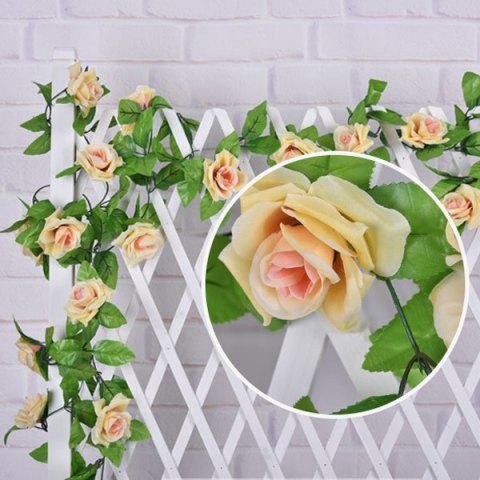 Outfits Wedding Party Wall Decor Fake Rose Rattan Artificial Flower - CHAMPAGNE GOLD  Mobile