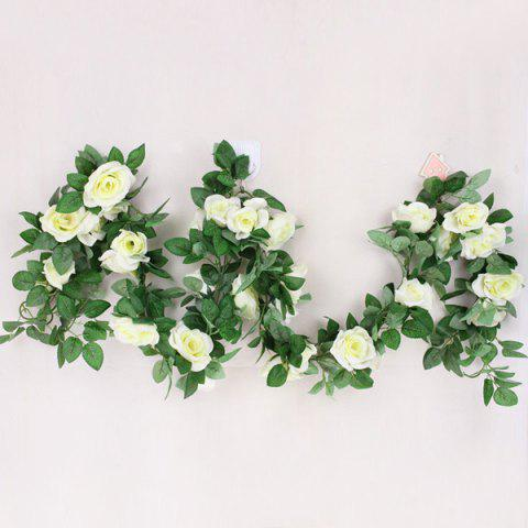 Sale Wall Decor 16 Heads Fake Rose Rattan Artificial Flower WHITE