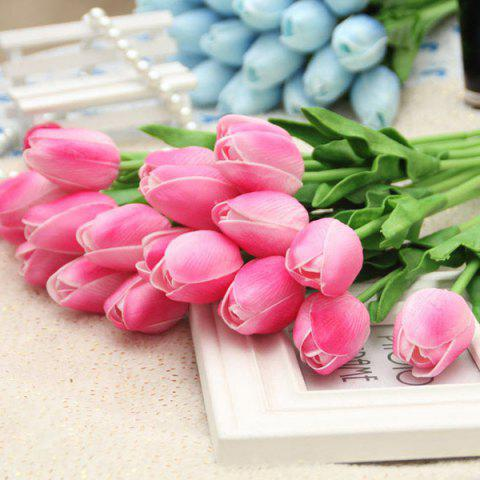 PU réel tactile Tulip Bouquet Home Decor Fleur artificielle Rose Foncé