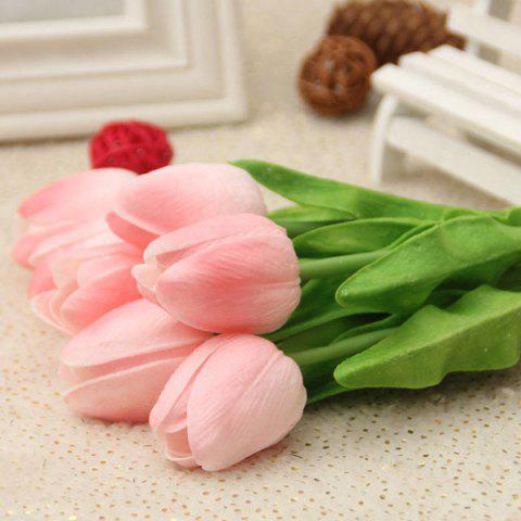 Fancy PU Real Touch Tulip Bouquet Home Decor Artificial Flowers PEACH PINK