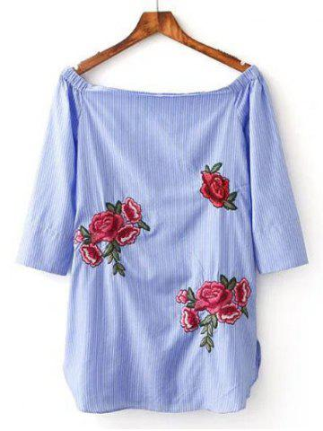 Fashion Floral Embroidery Striped Blouse