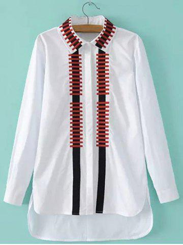 Hot High-Low Embroidery Slit Shirt WHITE L