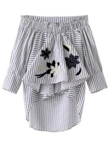 Buy Asymmetrical Ruffled Striped Embroidery Blouse