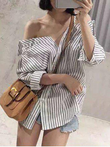 Fancy Cold Shoulder Striped Loose-Fitting Blouse