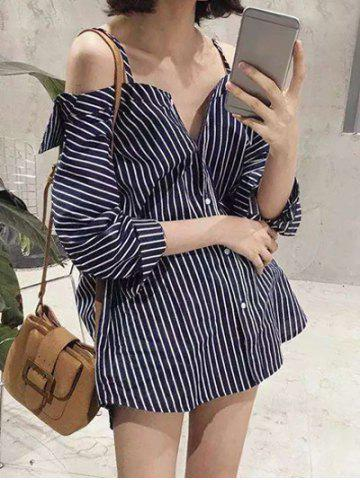 Store Cold Shoulder Striped Loose-Fitting Blouse