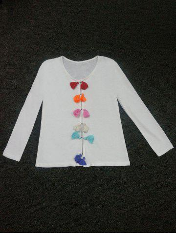 Discount Colorful Tassel Embellished Buttoned Cardigan