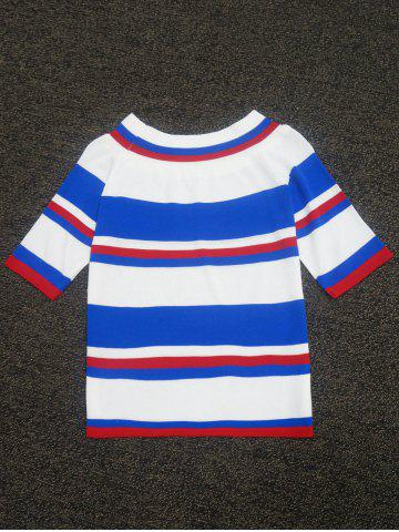 Chic Color Block Striped Knitted Sweater