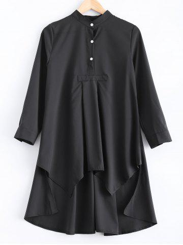 Loose-Fitting Asymmetric Buttoned Blouse - Black - L
