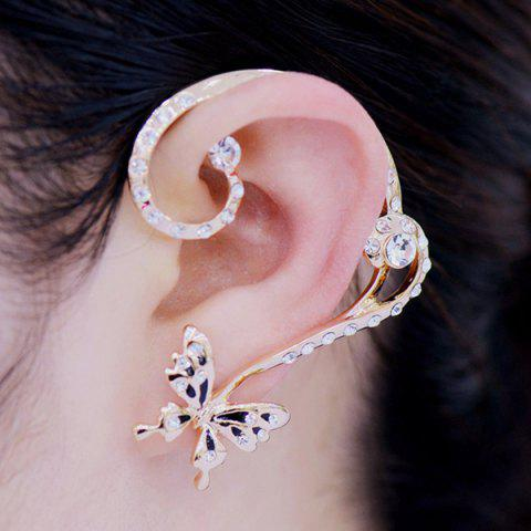 Cheap Pair of Alloy Rhinestoned Butterfly Earrings