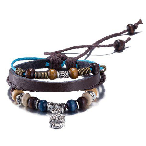 Latest Faux Leather Woven Rope Engraved Owl Beaded Bracelet