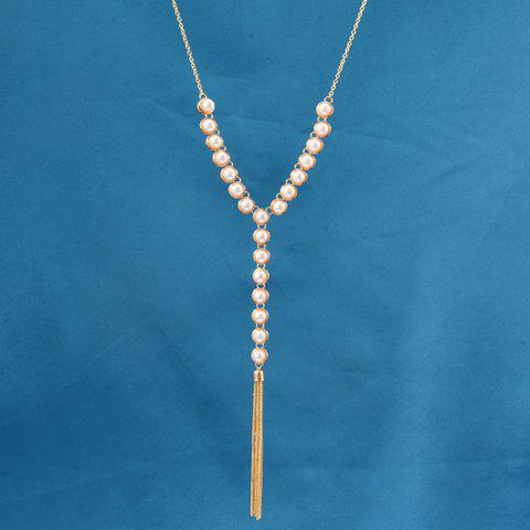 Hot Faux Pearl Beaded Pendant Sweater Chain