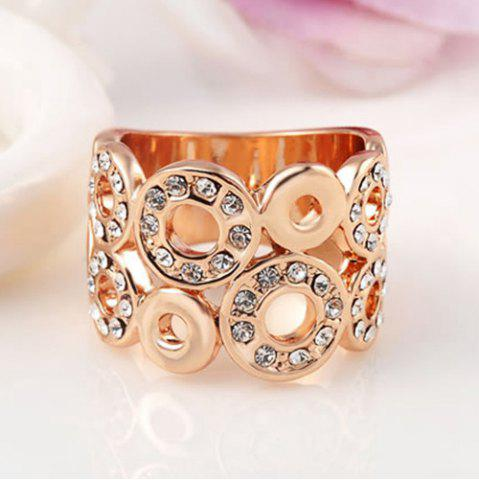 Outfits Rhinestone Round Wedding Jewelry Ring - ONE-SIZE GOLDEN Mobile