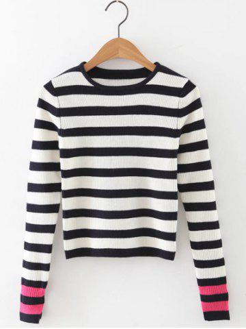 Discount Striped Hit Color Slit Cuff Knitwear
