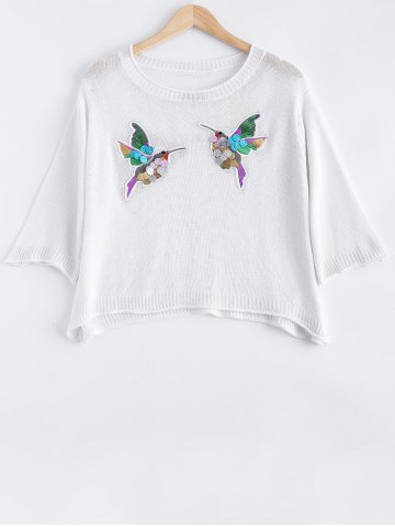 Trendy Bird Embroidered Sequined Knitwear