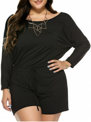 Discount Plus Size Long Sleeve Drawstring Romper BLACK XL