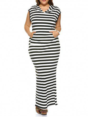 Affordable Plus Size Striped Hooded Sleeveless Dress
