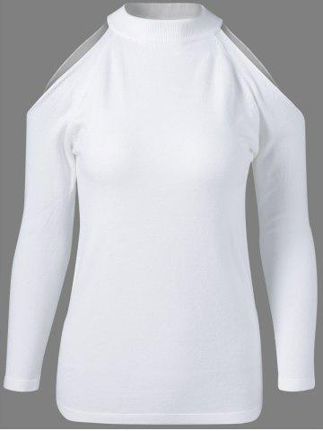 Trendy Round Neck Long Sleeve Voile Splicing Sweater
