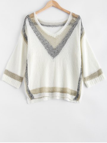 Discount Fashionable Loose-Fitting Hit Color Women's Knitwear