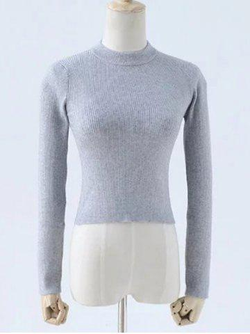 Sale Round Neck Slimming Solid Color Knitwear GRAY S