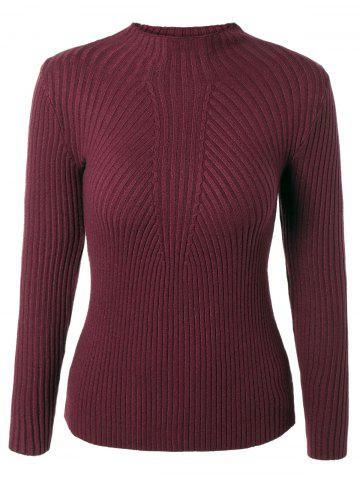 Fashion Pure Color Round Neck Stretchy Knitwear WINE RED ONE SIZE