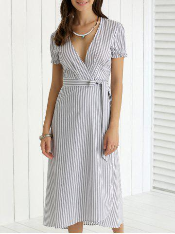 Shops Plunging Neck Ruffled Striped Faux Wrap Dress STRIPE 2XL