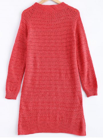Outfit Solid Color Loose-Fitting Knitted Dress - ONE SIZE WATERMELON RED Mobile