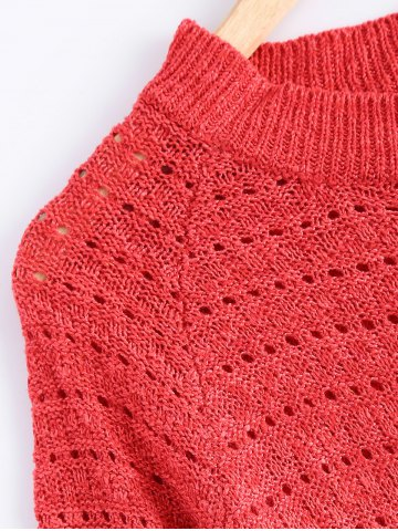 Store Solid Color Loose-Fitting Knitted Dress - ONE SIZE WATERMELON RED Mobile