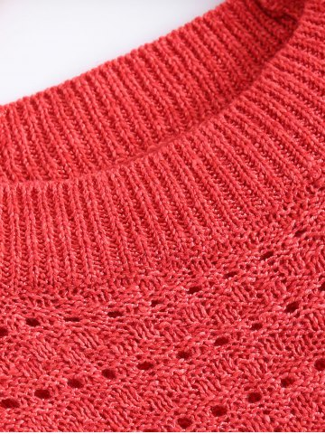 Online Solid Color Loose-Fitting Knitted Dress - ONE SIZE WATERMELON RED Mobile